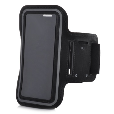 Protective Stretch Cotton + Neoprene Armband Case for HTC One M7 / Samsung Galaxy S5 - Black + Grey