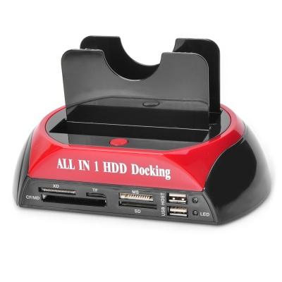All-in-1 HDD Docking Station w/ Touch Backup for IDE HDD - Black + Red