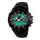 SKMEI 1016 Men's Waterproof Analog + Digital Sports Watch - Black