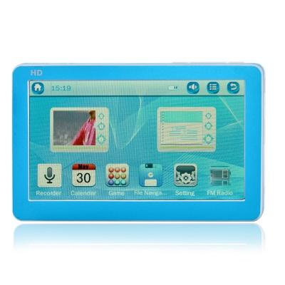 4.3'' HD Touch Screen MP5 Player w/ FM - White + Deep Blue (8GB)