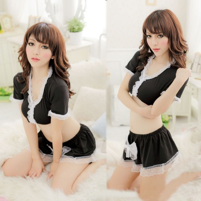 Women's Fashionable Sexy Maid Style Cosplay Costume - Black