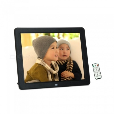 "12"" LED USB 2.0 Digital Photo Frame w/ SD + Remote Control - Black"