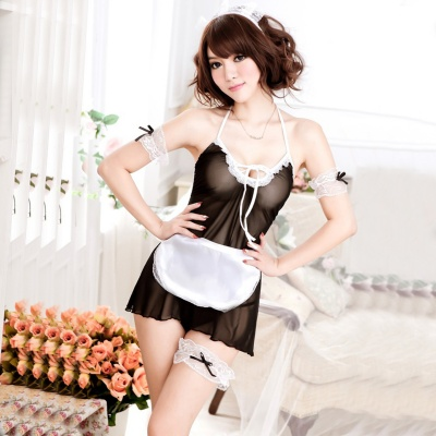 Women's Fashionable Sexy Maid Style One-Piece Spandex Cosplay Costume - Black