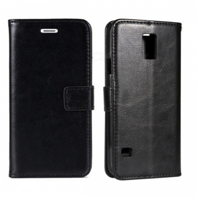 Angibabe Cow Split Leather Case with Card Slot for Samsung Galaxy S5 - Black