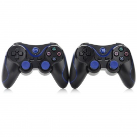 Bluetooth Controllers for PS3 + More - Black + Blue (2PCS)