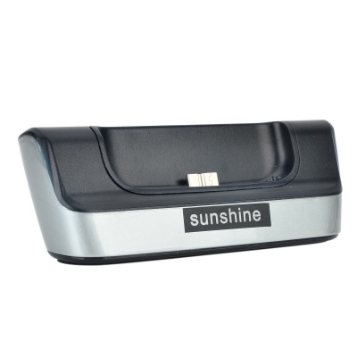 Sunshine Battery Dual Charging Dock Station + Charging Cable for Samsung Galaxy S5 - Black (95cm)