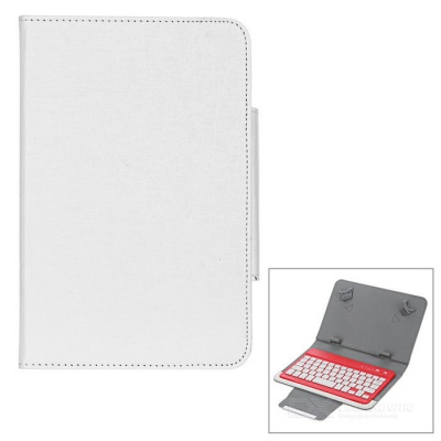 Bluetooth V3.0 59-Key Keyboard w/ Protective Case for 7''~8'' Tablet PC - Beige + Red + White