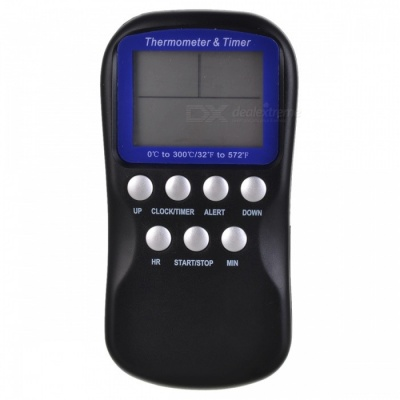 "TEM-001 2.4"" LCD Digital Food BBQ Thermometer w/ Probe / Timer - Black (1 x AAA)"