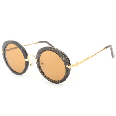 Oulaiou Retro Style Round Shaped Zinc Alloy Frame Resin Lens UV400 Sunglasses for Women - Coffee