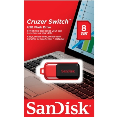 SanDisk Cruzer Switch 8GB USB 2.0 Flash Drive With SecureAceess Software- SDCZ52-008G