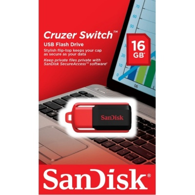 SanDisk Cruzer Switch 16GB USB 2.0 Flash Drive With SecureAceess Software- SDCZ52-016G