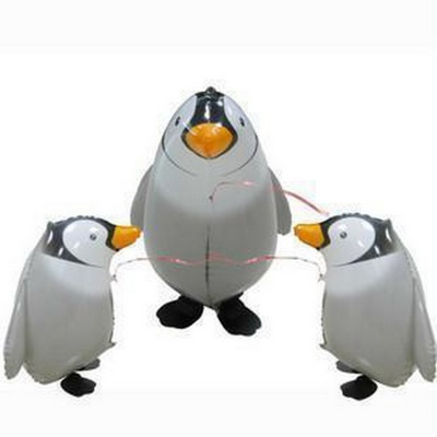 Penguin Animal Style Walking Aluminium Balloon - White + Grey + Black