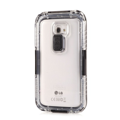 Protective Silicone + PC Waterproof Case for LG G2 - Transparent + Black