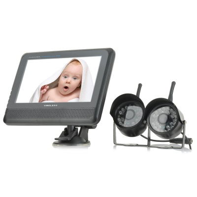 "890+706UX2 7"" Wireless Digital Baby's Monitor w/ 2 x 300KP Camera, EU Plug - Black"
