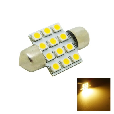 HONSCO 31mm 1.2W 60~80lm 2800K 12 x 3528 SMD LED Warm White Light Car Dome Festoon Door Bulb (12V)