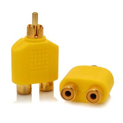 1-to-2 RCA Male to Female AV Adapter Connector - Yellow + Golden (2 PCS)