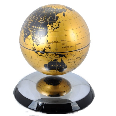 "6"" Automatic Magnetic Floating / Levitating / Anti Gravity Globe Tellurion - Silver + Gold"