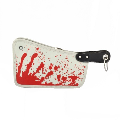 Blood Kitchen Knife Style Canvas Zipper Messenger Bag - White + Red