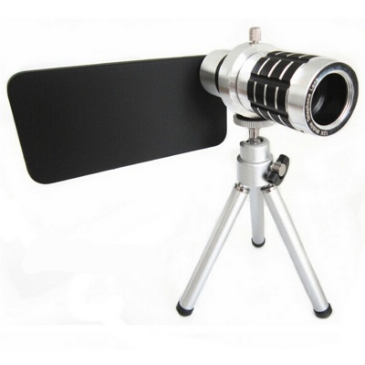 """12X Zoom Telephoto Lens w/ Tripod Mount + Back Case for IPHONE 6 4.7"""" - Black + Silver"""