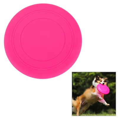 Super Soft Frisbee UFO Style Silicone Indoor / Outdoor Toy for Pet Dog - Deep Pink