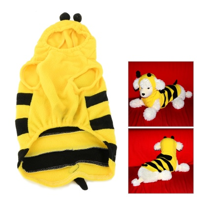 JUQI Cute Bee Style Fleeces Coat for Pet Cat / Dog - Black + Yellow (L)