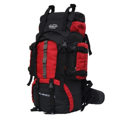 A1253 60L Water Resistant Outdoor Sports Travel Mountaineering Oxford Shoulders Bag Backpack - Red