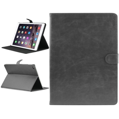 ENKAY Protective PU Leather Case w/ Auto Sleep + Stand + Card Slots for IPAD AIR 2 - Deep Gray
