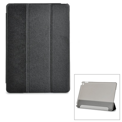 Protective Sparkling Silk Grain PU Leather Smart Case w/ PC Back, Stand for IPAD AIR 2 - Black