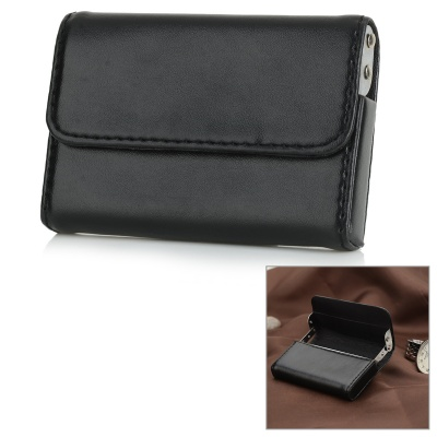 Stylish PU + Aluminum Alloy Business Pull Style Name Card Holder Case - Black + Silver