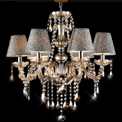 TB-008-6L European Style 6-Light E14 Base Holder Crystal Chandelier Ceiling Lamp - Cognac + Silver