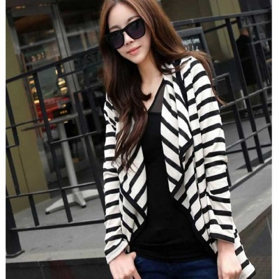 DC-A690007 Women's Fashion Casual Cotton Cardigan Coat - White + Black (L)