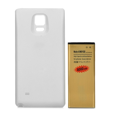 Replacement 3.85V / 8000mAh Battery + Back Cover Set for Samsung Galaxy Note 4 / N9100 - White