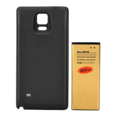 Replacement 3.85V / 8000mAh Battery + Back Cover Set for Samsung Galaxy Note 4 / N9100 - Black