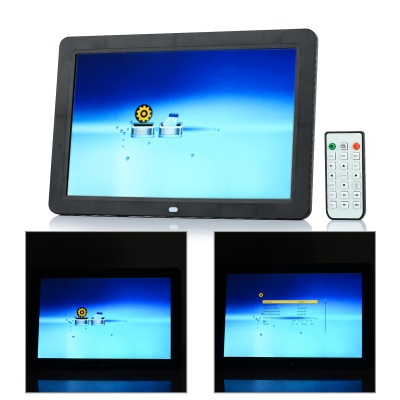 "12"" OLED Screen Professional Digital Picture Photo Frame w/ Remote Control / SD / MS - Black"