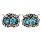 Women's Fashion Owl Style Inlaid Zinc Alloy Ear Studs - Antique Silver + Blue (Pair)