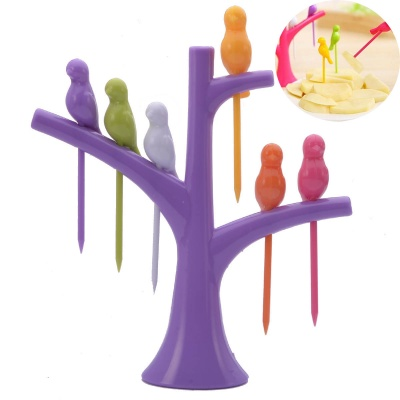 Bird-on-the-Tree Style Birdie Fruit Forks + Holder Set - Purple