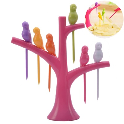 Bird-on-the-Tree Style Birdie Fruit Forks + Holder Set - Red