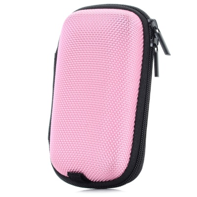 Portable Shock-resistant Zipper Storage Bag Pouch - Pink + Black