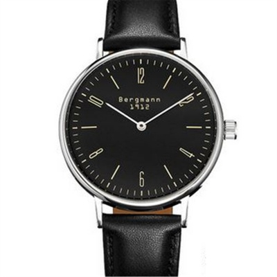 Bergmann 1912 Classic Men's Leather Strap Analog Watch-Black