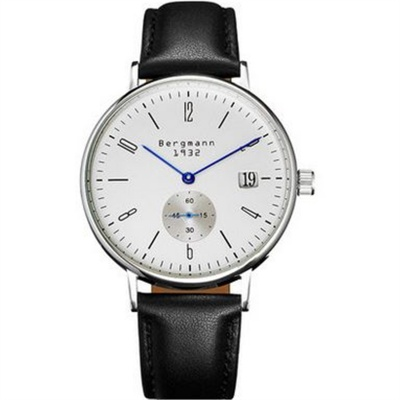 Bergmann 1932 Classic Unisex Leather Strap Watch-Black + White