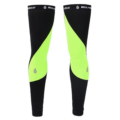 WOLFBIKE BC320-G Cycling Leg Warmer Sleeves - Green + Black (M)