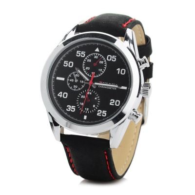CURREN 8156 Men's PU Leather Quartz Watch - Black