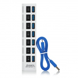 5Gbps 7-Port USB 3.0 HUB w/ Individual Switch + EU Plug Adapter -White