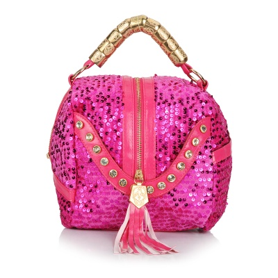 ZEA15-3-5-1 Women's Sequins PU Handbag Shoulder Bag - Deep Pink