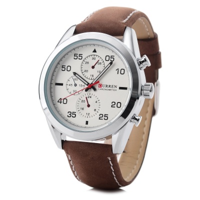 CURREN 8156 Men's PU Leather Quartz Watch - White + Brown