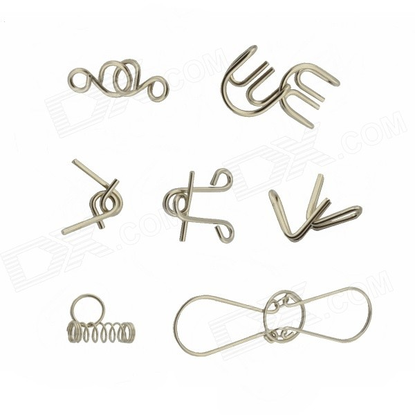 7-in-1 Educational Stainless Steel Puzzle Buckles Set - Silver