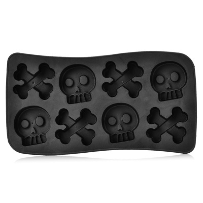Cute Skull Style Silicone Ice Cube Tray - Black