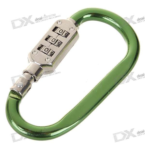 3-Digit Compact Carabiner Clip Padlock - Small (Color Assorted)