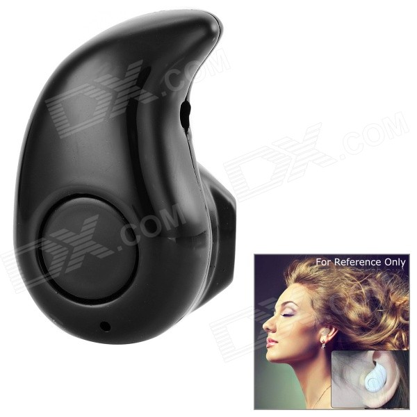 Mini Concealed Wireless Bluetooth In-Ear Mono Earpiece Earphone -Black