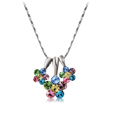 Xinguang Women's Plum Blossom Shaped Crystal Inlaid Necklace - Silver